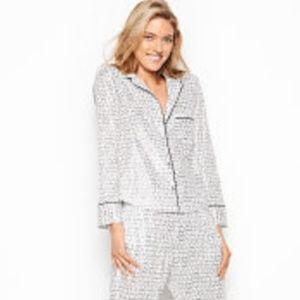 Satin  PJ Pajama Sleep Shirt Top